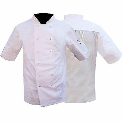 QUALITY Chefs Jacket / Uniform Chef Clothing Mesh Back WHITE  LOW PRICES