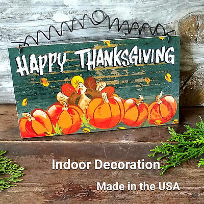 DECO ART SIGN Thanksgiving Theme Pumpkins Turkey Shabby Cottage Chic Style NEW