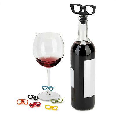 Umbra GLASSES Wine Bottle Stopper and Wine Glass Charms, 7-Piece Set 480470-022