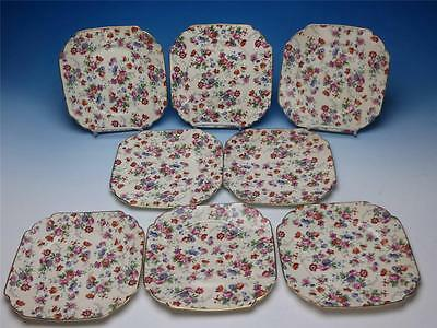Erphila Dorset Cheery Chintz Flower Pattern - 8 Square Salad or Dessert Plates