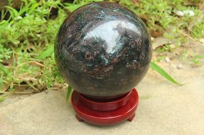 150mm Blue Flash Russian Astrophylite with Garnet and Pyrite Sphere Ball +STAND