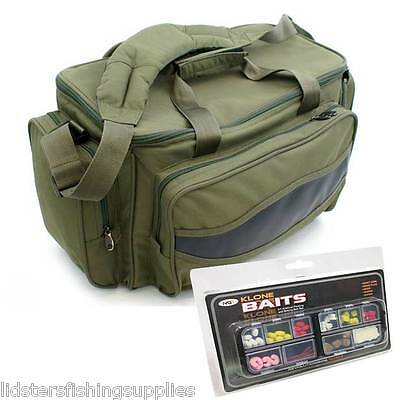Brand New Green Carp Fishing Tackle Bag Holdall NGT + 51pc artificial Bait Set