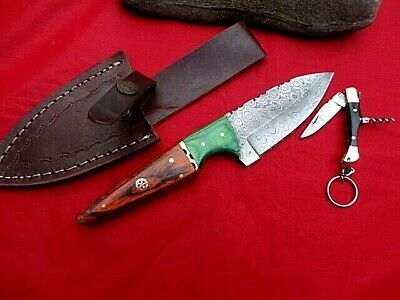 "LAST_TOP Class_ 2 x 8"" DAMASCUS Bush Hunting/Camping/Fishing Knife/Knives"