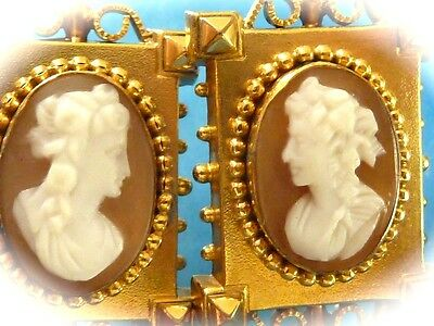 Gold Filled Victorian Hand Carced Conch Shell Lady Profile Earrings Pierced