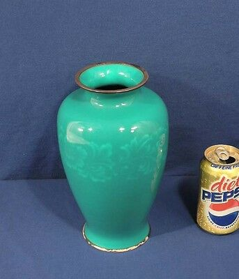 """Green Ando Japanese Enamel Sterling Silver Cloisonne 10"""" Vase Peony Early Showa"""