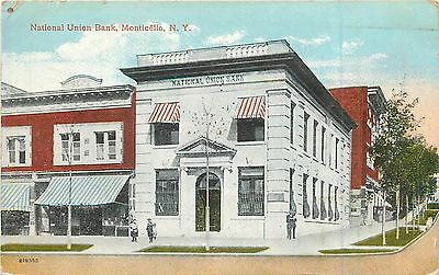 1911 Vintage Postcard National Union Bank MONTICELLO New York