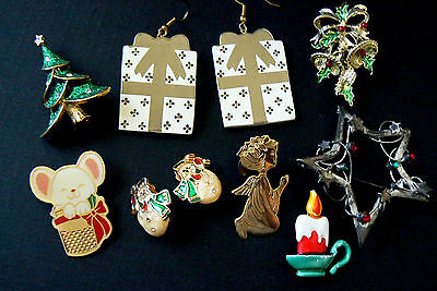 Mixed Lot of 8 Christmas Holiday Tree Star Mouse Angel Pin Brooch & Earrings
