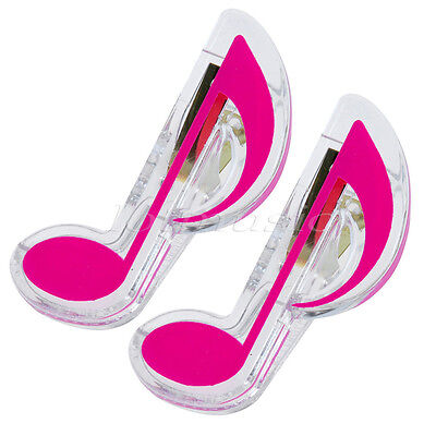 2* Music Book Note Page Holder Clip pink Sturdy Plastic Sheet