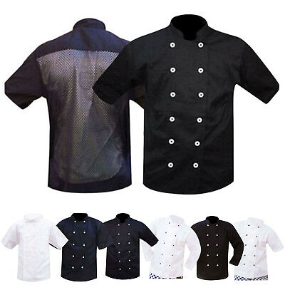 Chef / Chefs Jacket White & Black Full & Short Sleeves & Mesh Back UNISEX