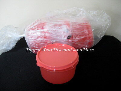Tupperware NEW Lunch Set 4 Orange / Red Snack Cups Serving Bowls Back to School