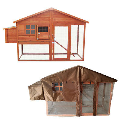 6Ft Chicken Coop With Built In Run With Cover Nest Box Hen House Poultry Cage
