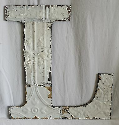 "Large Antique Tin Ceiling Wrapped 16"" Letter ""L'' Patchwork Metal Chic White"