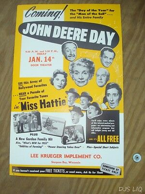 Old John Deere Movie Poster Sign Advertising Display Sturgeon Bay Wi Bc645