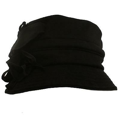 Winter Wool Floral Leaves Crushable Foldable Bucket Cloche Church Hat Cap Black