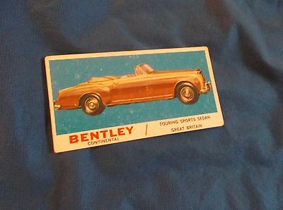 1961 Topps Sports Cars Trading Card Bentley Continental Touring Sports Sedan #22