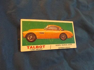 1961 Topps Sports Cars Card Talbot Lago America Sports Touring Coupe #39