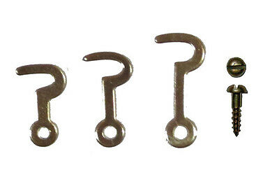 Small Brass Plated Steel Hook, Latch, with Screws,  3 Sizes, Lots of 2, 12, & 50