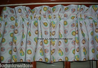 PREMADE lined VALANCE with PRECIOUS MOMENTS Chasing RAINBOWS lion GIRAFFE FABRIC