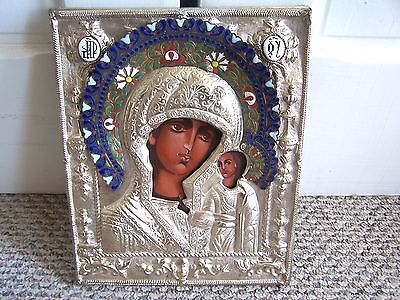 Antique Russian Silver & Enamel Hand painted Wood Icon Madonna & Child Oklad