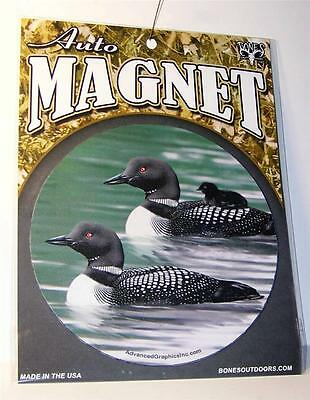 "Great Northern Common Loon Family 5.5"" Round Car Fridge Plastic Magnet Bird"