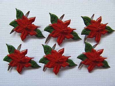 BRADS POINSETTIA pk of 8 christmas flower xmas card scrapbooking craft split pin