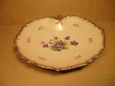VINTAGE LEFTON CHINA BOWL - HAND PAINTED PINK with VIOLETS & GOLD - RARE