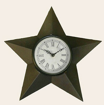 New Primitive Country BARN STAR CLOCK Rustic Brown Wall Hanging