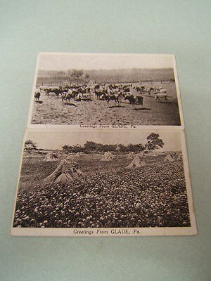 Greetings from Glade PA Pennsylvania Post Cards 2 black/white photo cards unused