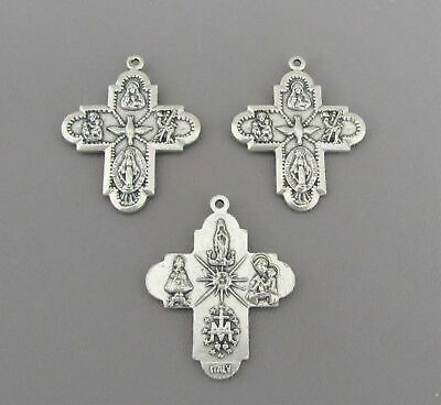 Four Way (4 Way) Holy Medal charm for rosary bracelet pendant ITALY M104 Silver