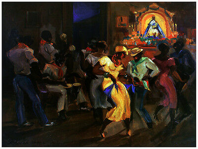 7640.People dancing at club.saint in background.POSTER.House art wall decor