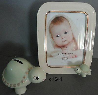 Lenox BABY TURTLE FRAME AND BANK SET new in box