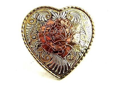 Western Heart With Rose Belt Buckle Made In USA 82814