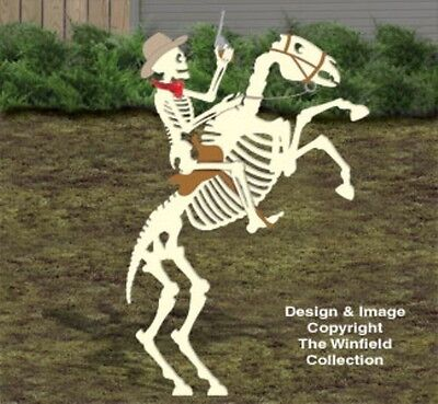 *NEW* Halloween Wood Lawn Yard Shadow/Silhouette Skeleton Horse Rider 8 Ft. Tall