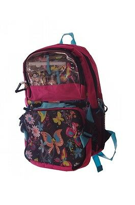 Girls Pink Teal Peace Sign Butterfly Floral School Bag Backpack Lunch Box NEW