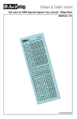 IJN Aircraft tail codes - Black - 1/72 scale Aviaeology Decals