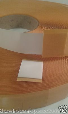 100 DOUBLE SIDED ADHESIVE FOAM PADS STICKY FIXERS 3D EFFECT 25mm SQUARE x 1mm