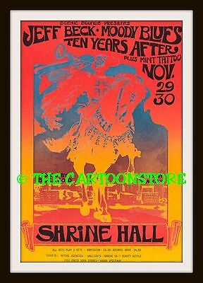 """JEFF BECK, TEN YEARS AFTER, MOODY BLUES - MINI-POSTER PRINT 7"""" x 5"""""""