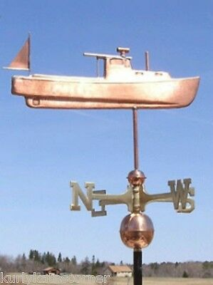 """Copper   """" Lobster Boat """" Weathervane  Made In Usa #139"""