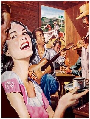 8066.People gathered.drink coffee.guitar played.smoking.POSTER.art wall decor