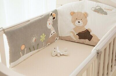 New MiniDream Baby Cot Bumper Cot Bed Nursery Bedding Embroidered Beige