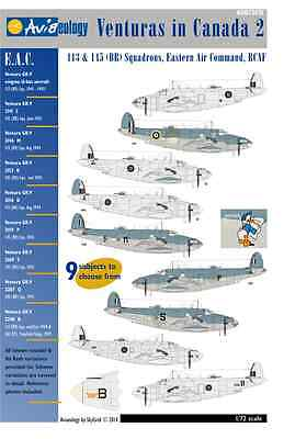 Venturas in Canada 2: RCAF EAC Squadrons – 1/72 scale Aviaeology Decals 'n Docs