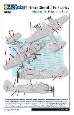 Beaufighter Airframe Stencil Data Markings - 1/48 scale Aviaeology Decals