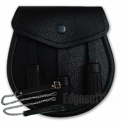 Genuine Real Leather Plain  Black Scottish Sporran & Chain Belt Kilt Accessories
