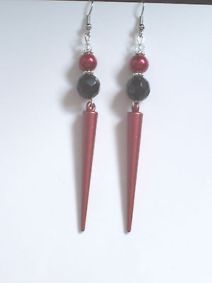 Black Faceted Bead/Red Spike Dangly Pierced Earrings