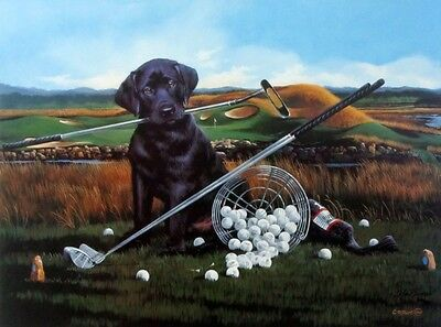 Drive for Show Put for Doug by Phillip Crowe Lab Puppy Golf  Print S/N