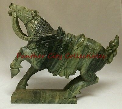 Antique Heavy Large Stone Carved Chinese War Horse Sculpture