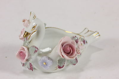Lefton China Miniature Swan W/ High Relief Roses Japan Ash Tray Figurine