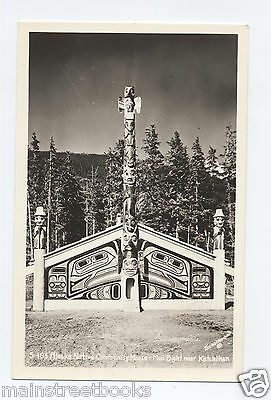ALASKA NATIVE COMMUNITY HOUSE TOTEM Mud Bight Ketchikan RPPC Real Photo Postcard