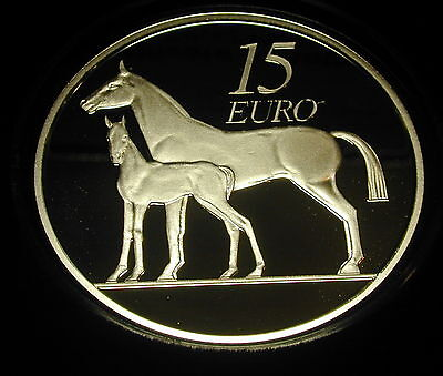 Ireland 15 Euro Silver Proof Coin. 2010. Limited. Horse