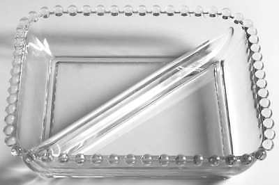 Imperial Glass Ohio CANDLEWICK CLEAR 2 Part Square Relish Dish 237045